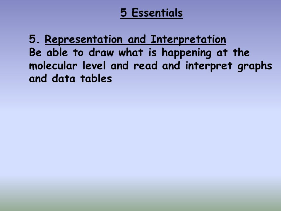 5 Essentials Representation and Interpretation. Be able to draw what is happening at the. molecular level and read and interpret graphs.
