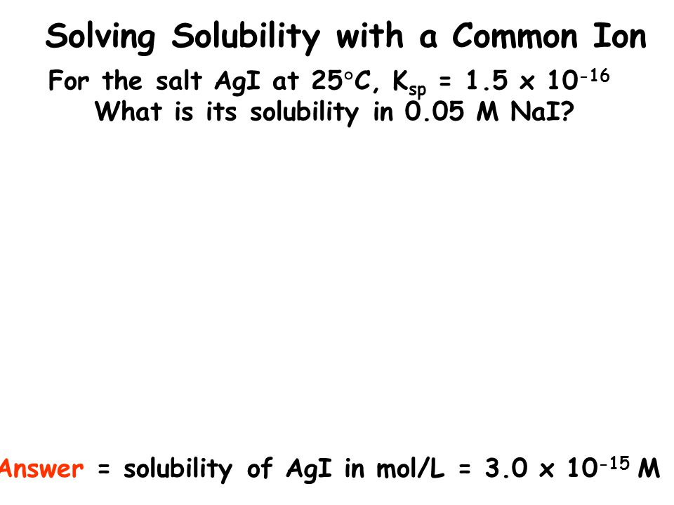 Solving Solubility with a Common Ion