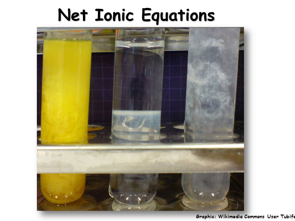 Net Ionic Equations Graphic: Wikimedia Commons User Tubifex