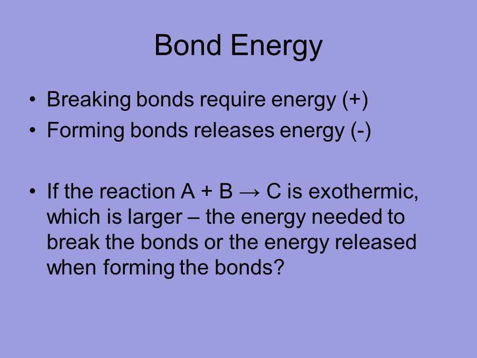Bond Energy Breaking bonds require energy (+)