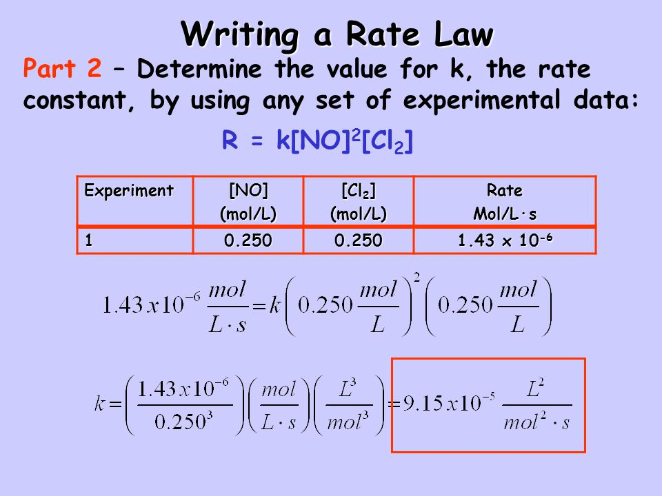 Writing a Rate Law Part 2 – Determine the value for k, the rate constant, by using any set of experimental data: