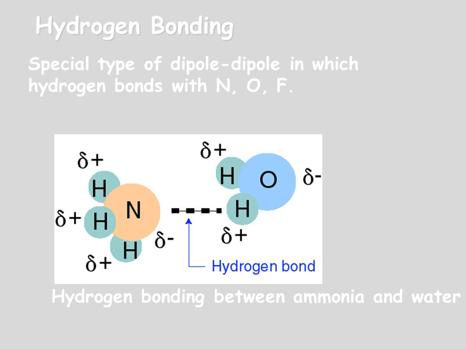 Hydrogen Bonding Special type of dipole-dipole in which hydrogen bonds with N, O, F.