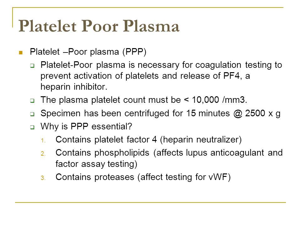 Platelet Poor Plasma Platelet –Poor plasma (PPP)