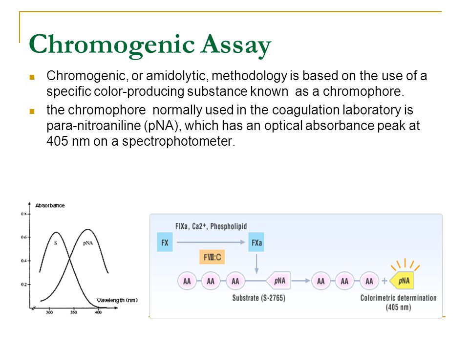 Chromogenic Assay Chromogenic, or amidolytic, methodology is based on the use of a specific color-producing substance known as a chromophore.