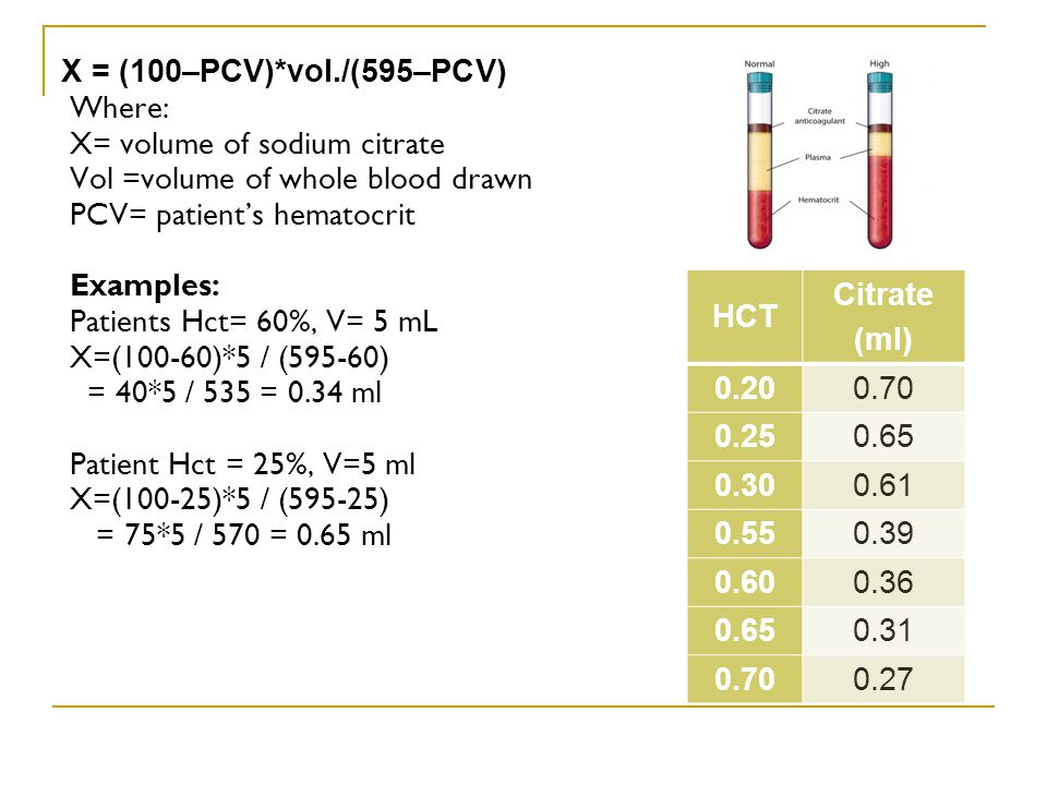 X = (100–PCV)*vol./(595–PCV) Where: X= volume of sodium citrate. Vol =volume of whole blood drawn.