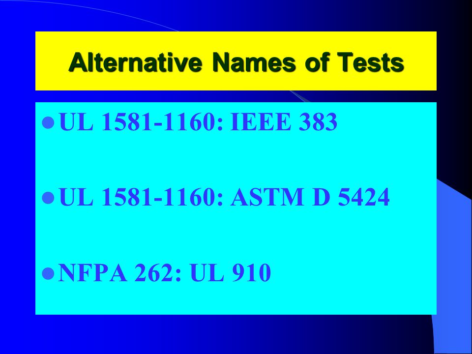 Alternative Names of Tests