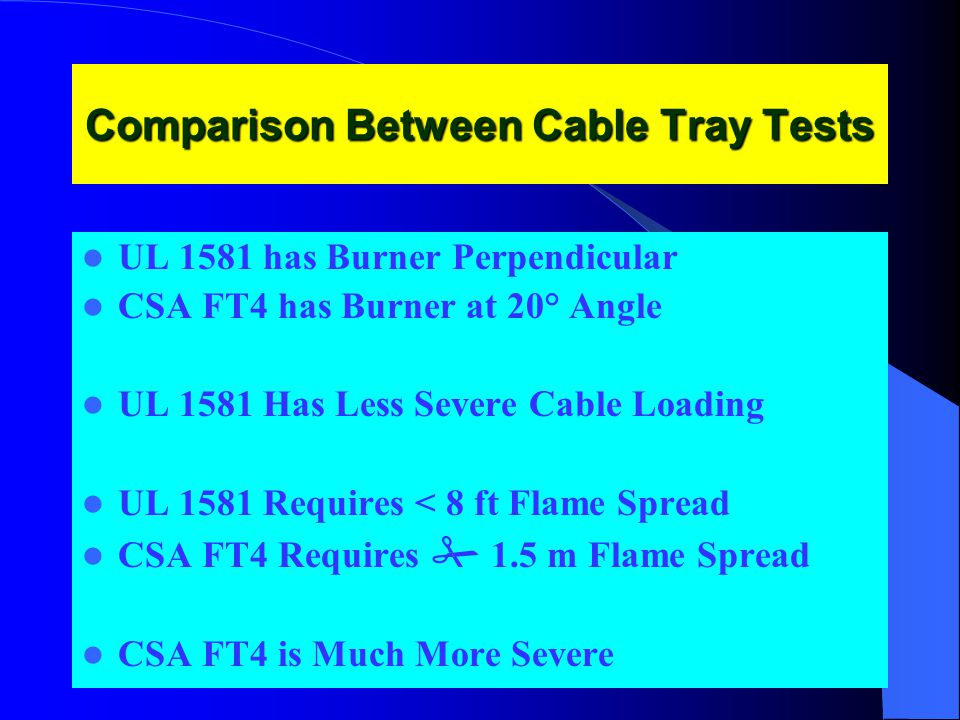 Comparison Between Cable Tray Tests