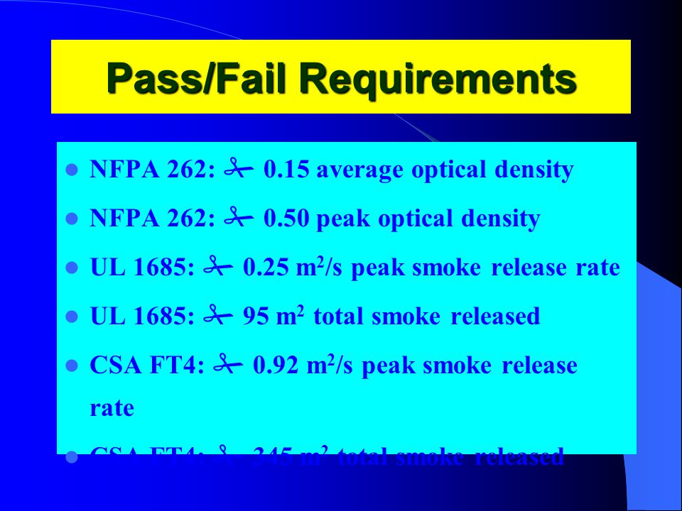 Pass/Fail Requirements