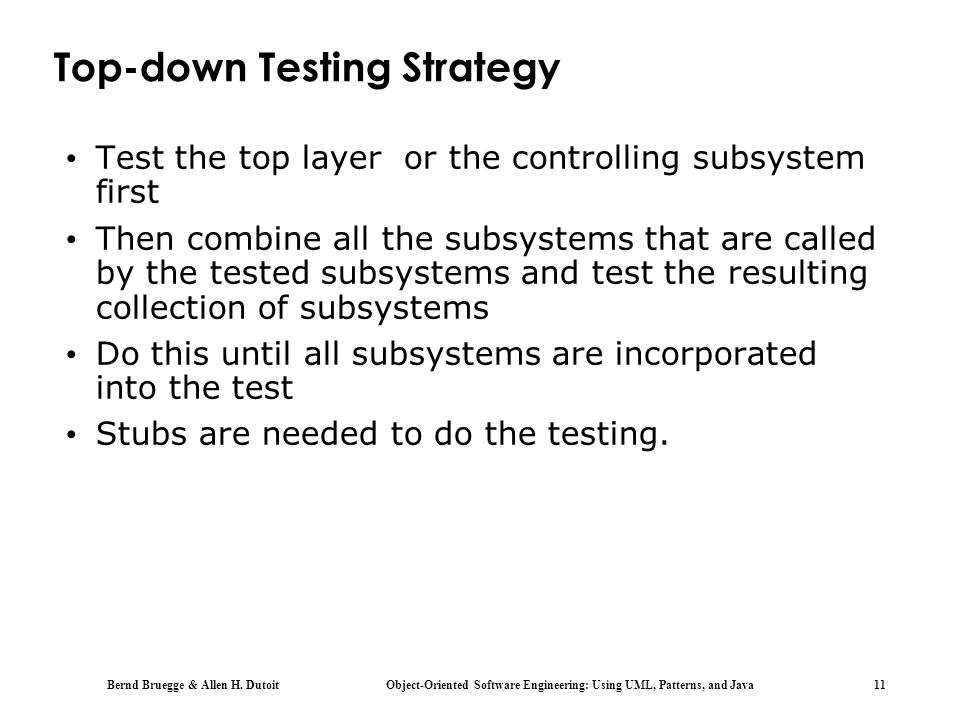 Top-down Testing Strategy