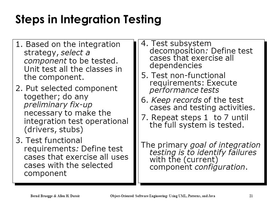 Steps in Integration Testing