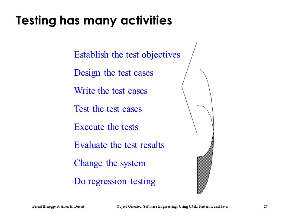 Testing has many activities