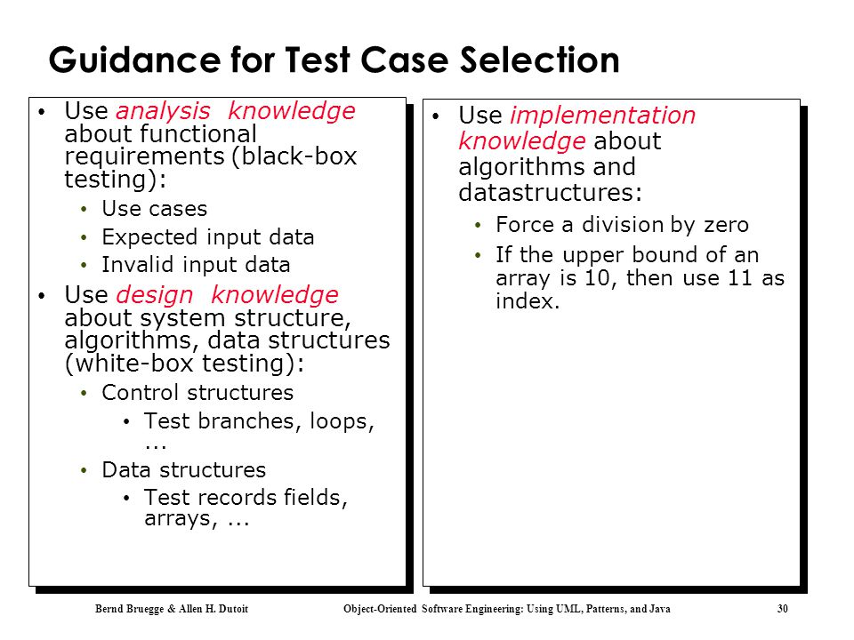 Guidance for Test Case Selection