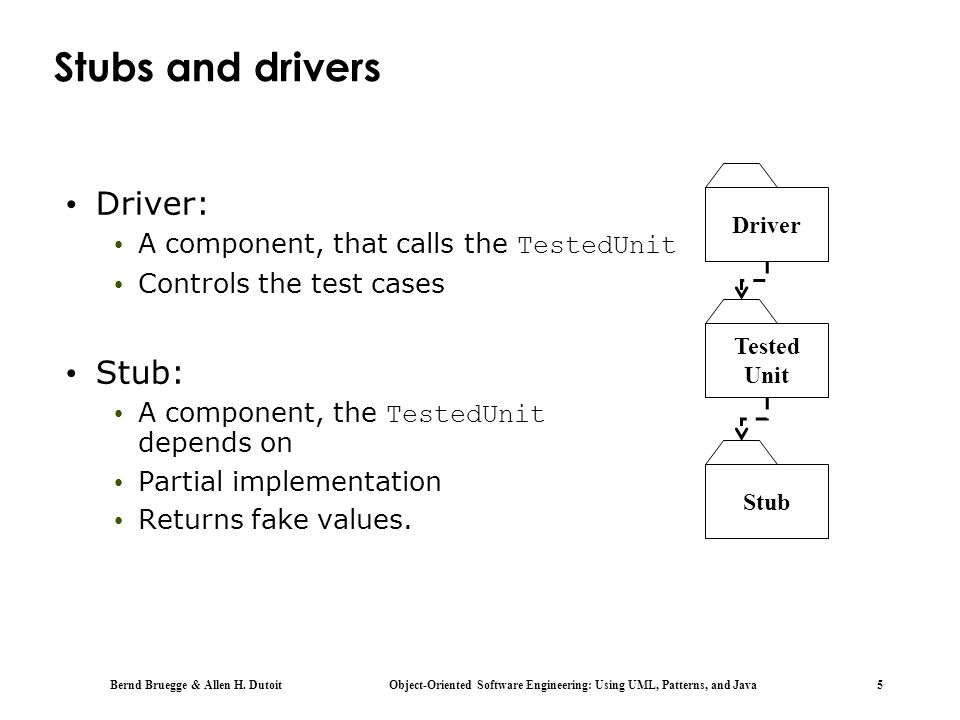 Stubs and drivers Driver: Stub: A component, that calls the TestedUnit
