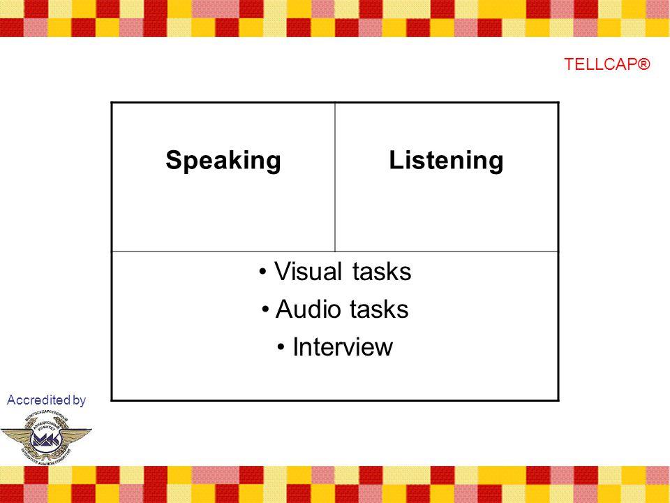 Speaking Listening Visual tasks Audio tasks Interview TELLCAP®
