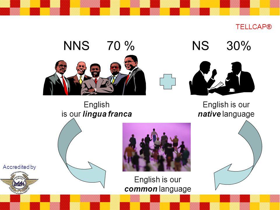 NNS 70 % NS 30% English is our lingua franca