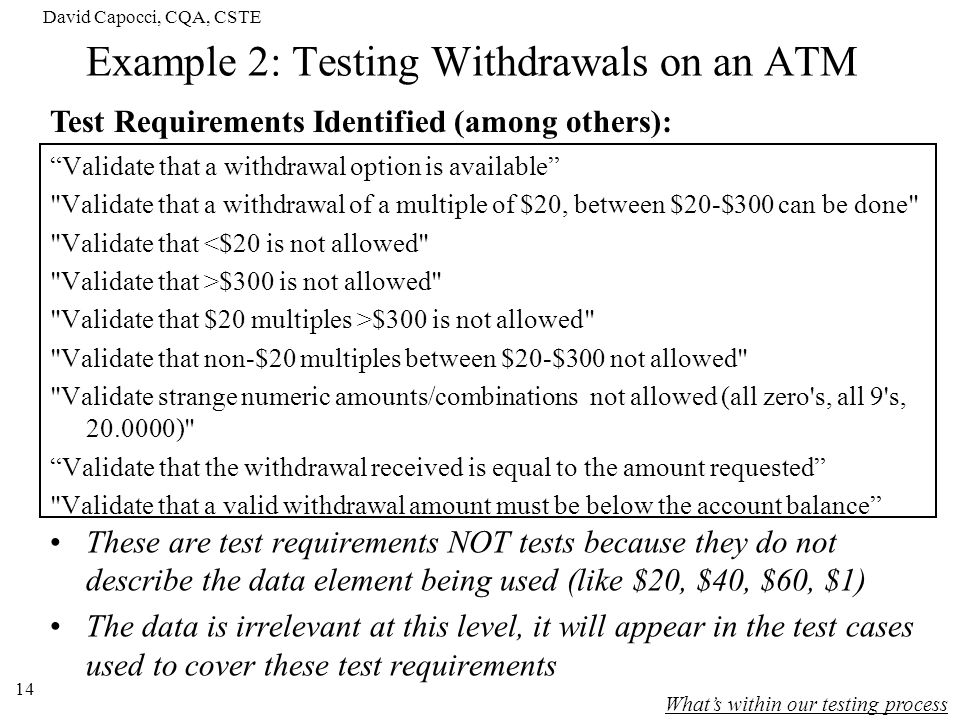 Example 2: Testing Withdrawals on an ATM