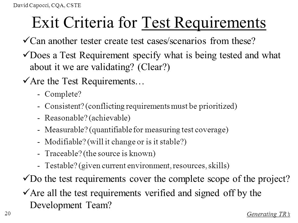Exit Criteria for Test Requirements