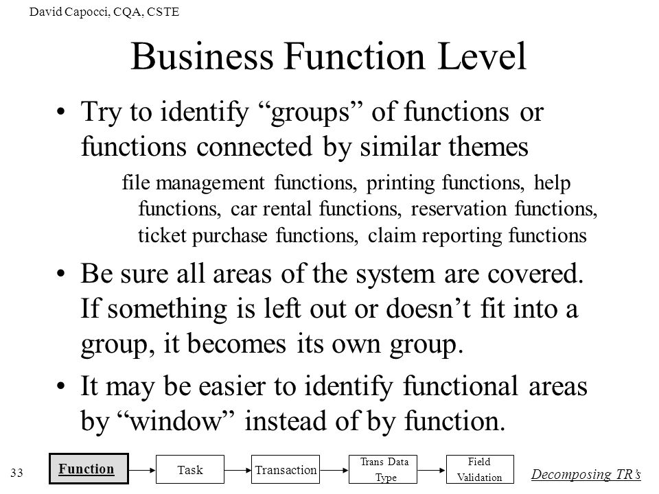 Business Function Level