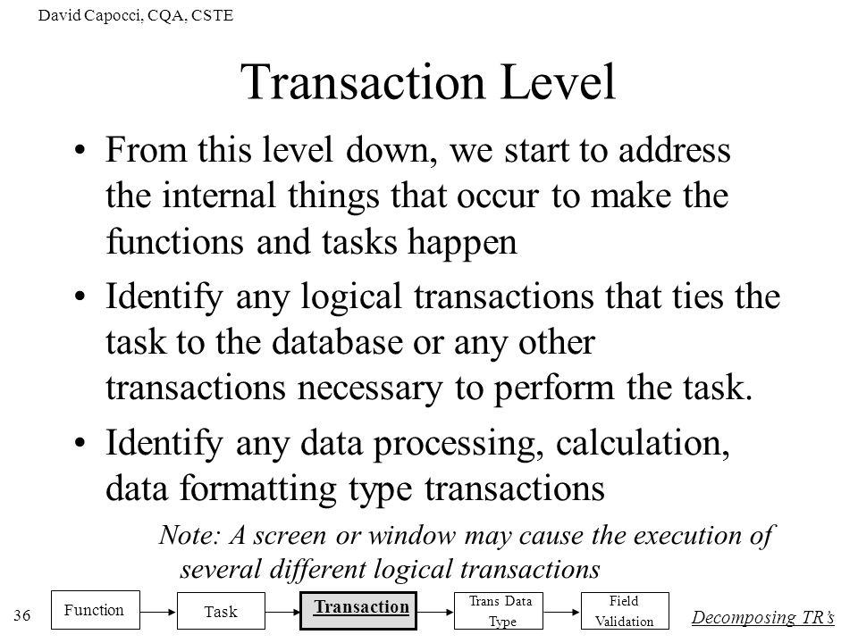 David Capocci, CQA, CSTE Transaction Level.