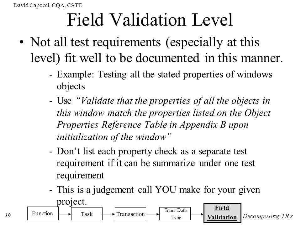 Field Validation Level