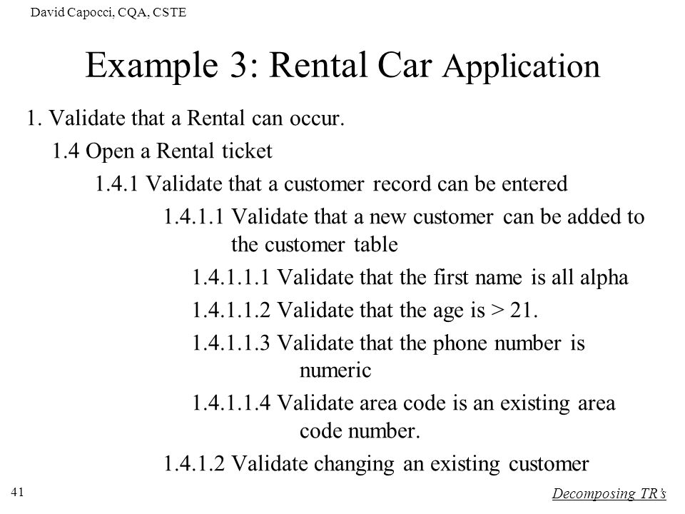 Example 3: Rental Car Application