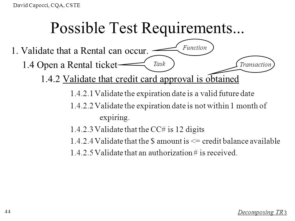 Possible Test Requirements...