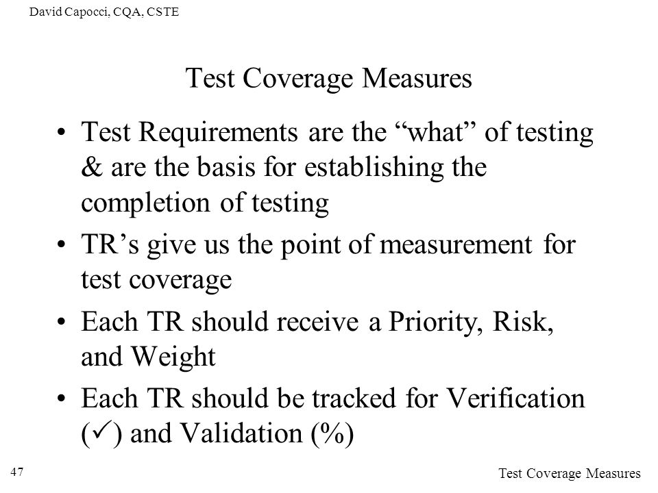 Test Coverage Measures
