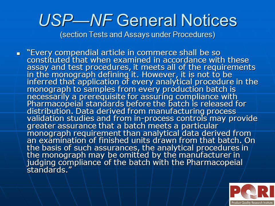 USP—NF General Notices (section Tests and Assays under Procedures)