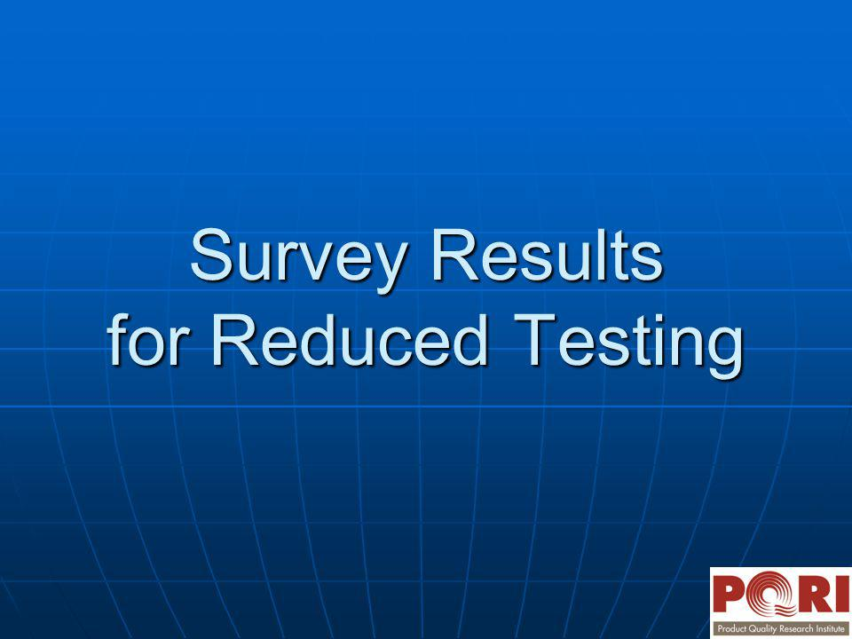 Survey Results for Reduced Testing