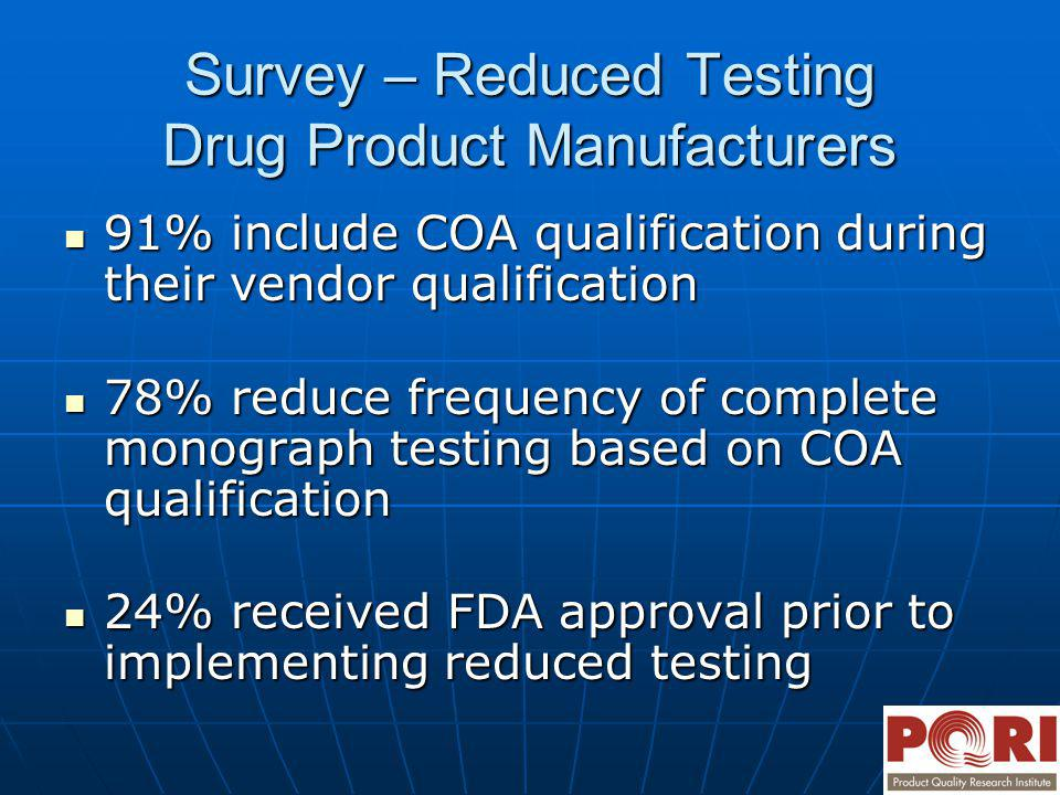 Survey – Reduced Testing Drug Product Manufacturers