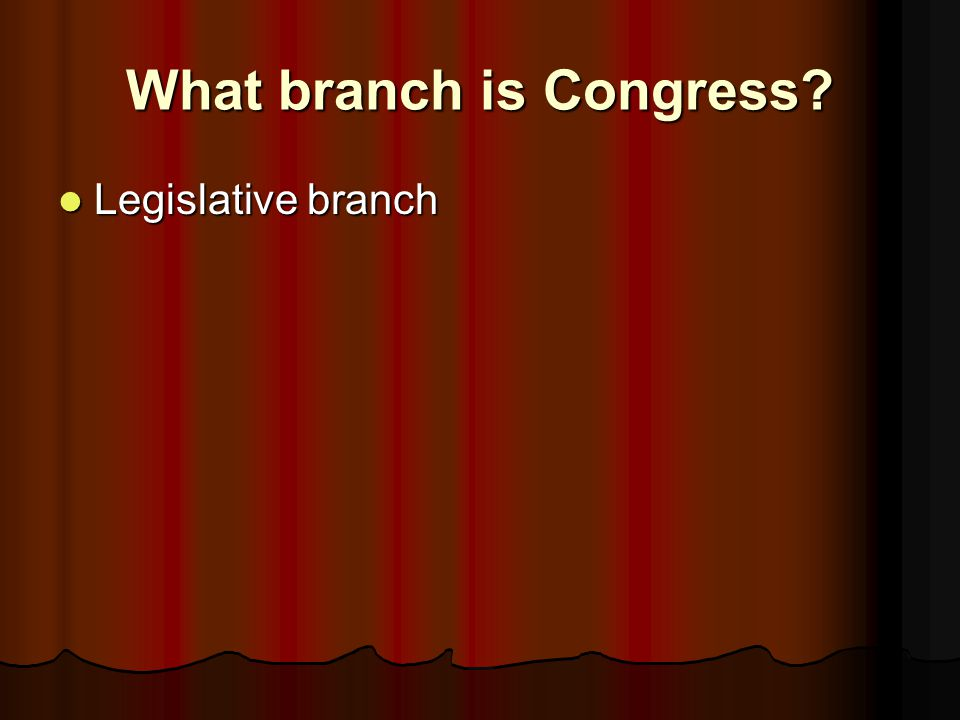 What branch is Congress
