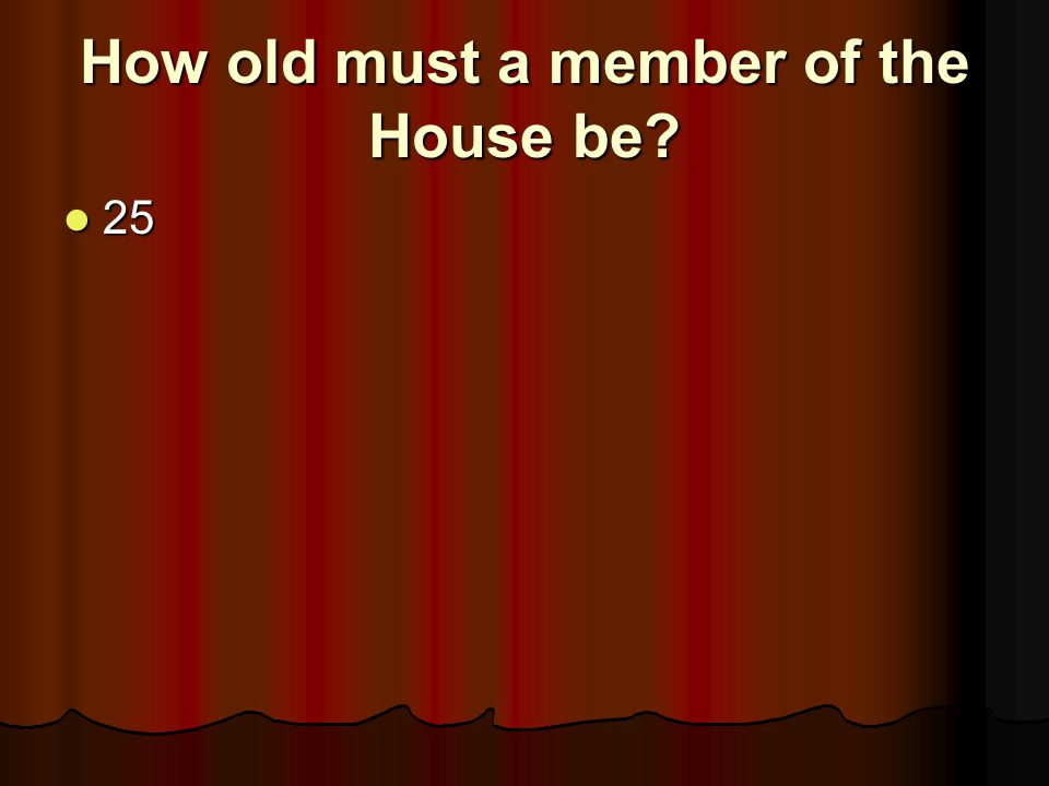 How old must a member of the House be
