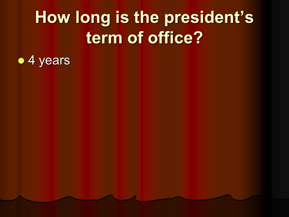 How long is the president's term of office