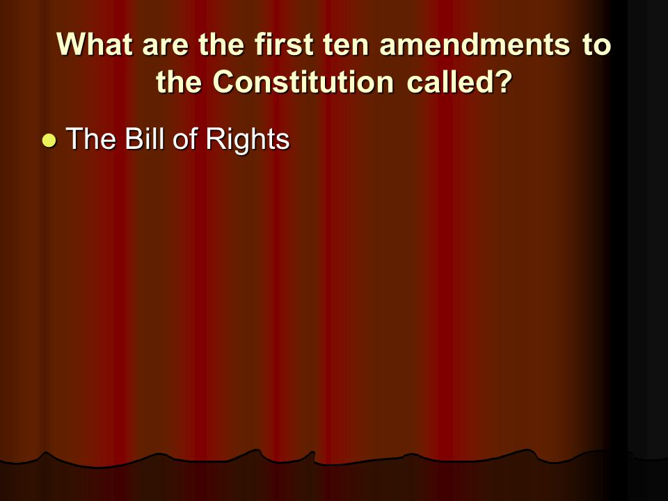 What are the first ten amendments to the Constitution called