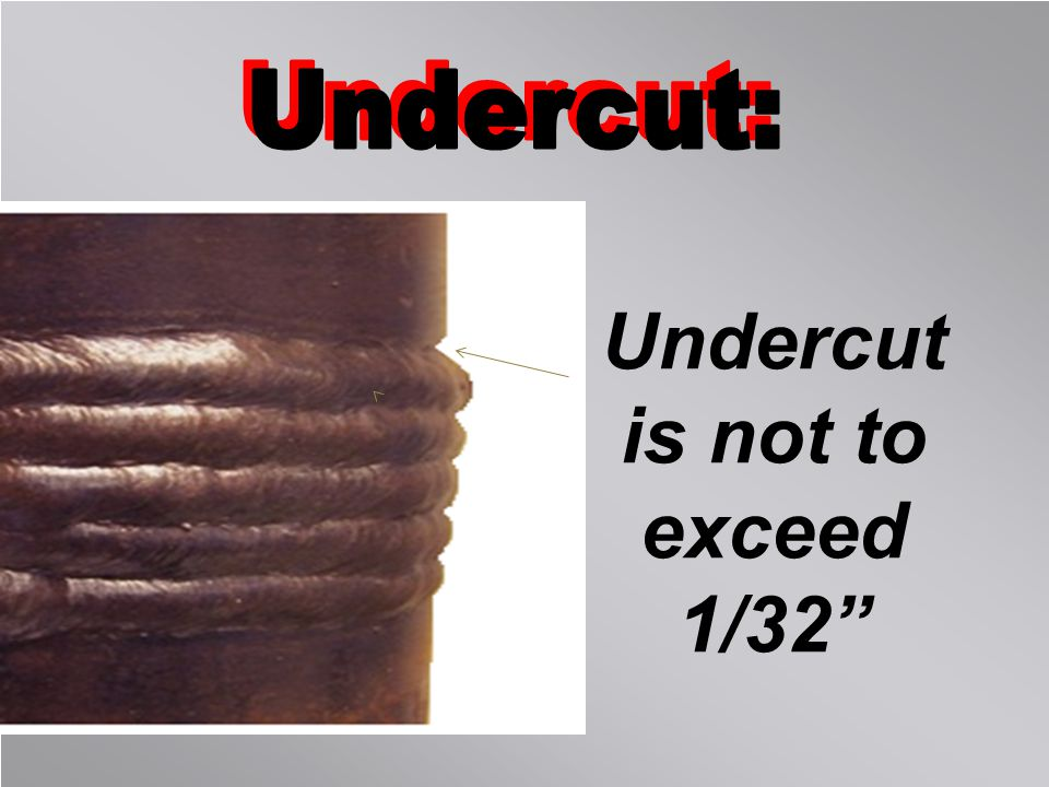 Undercut is not to exceed 1/32