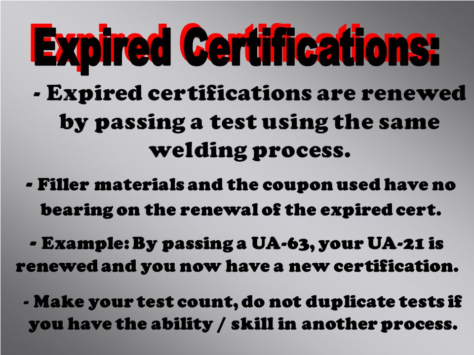 Expired Certifications: