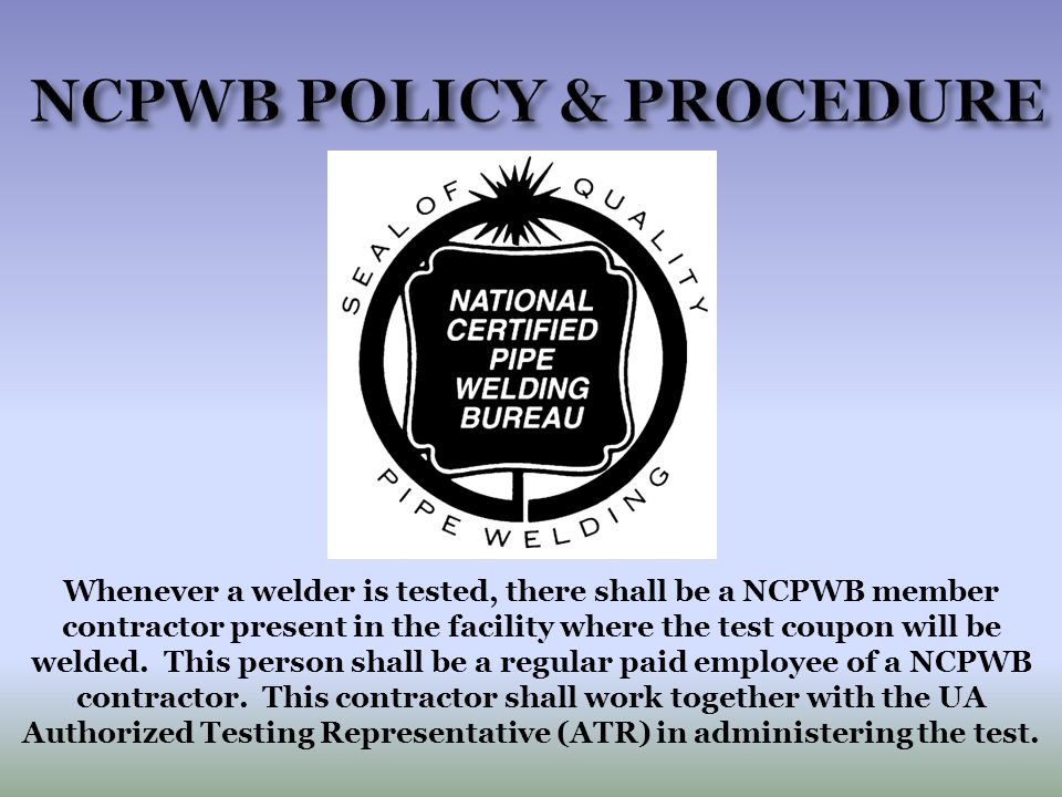 NCPWB POLICY & PROCEDURE