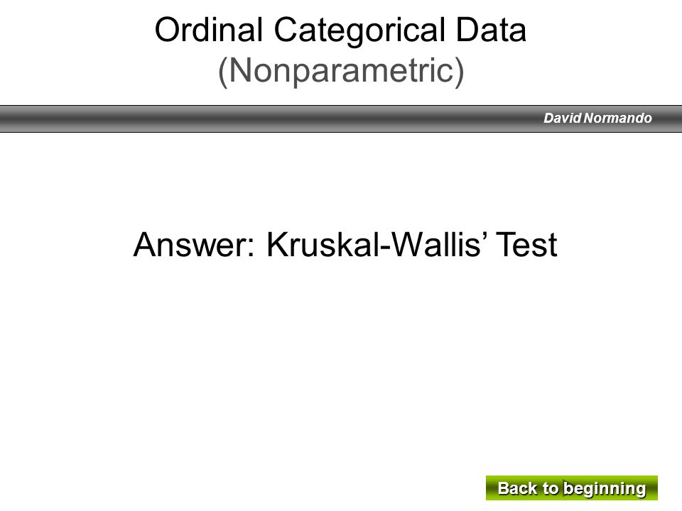 Ordinal Categorical Data (Nonparametric)