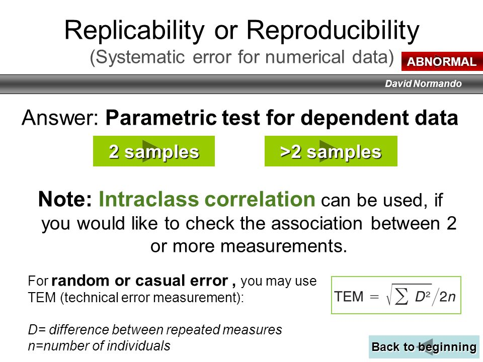 Replicability or Reproducibility (Systematic error for numerical data)