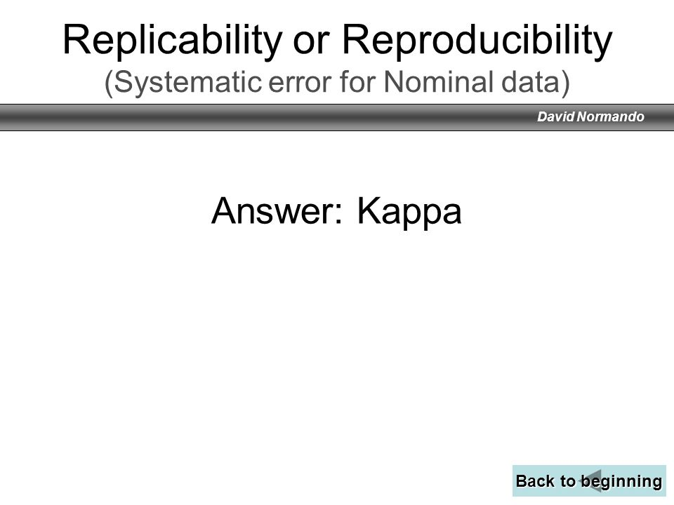 Replicability or Reproducibility (Systematic error for Nominal data)