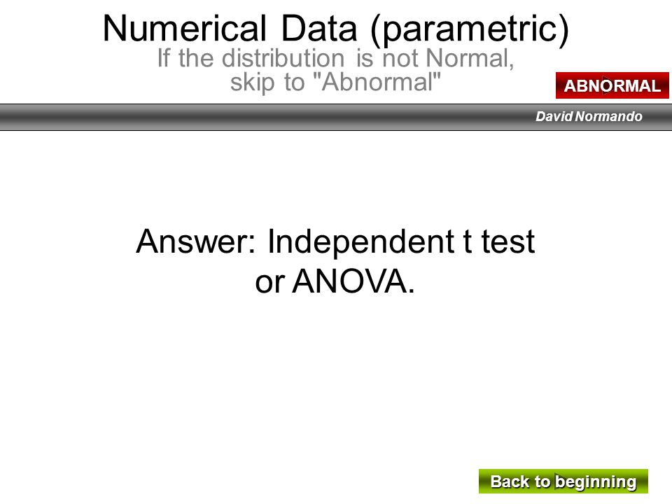 Answer: Independent t test
