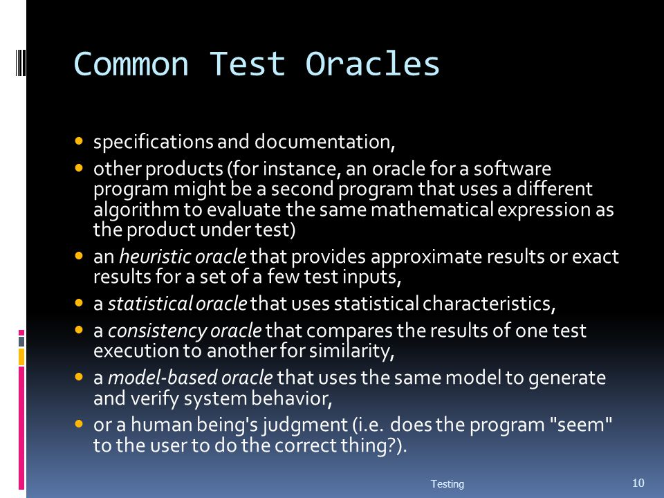 Common Test Oracles specifications and documentation,