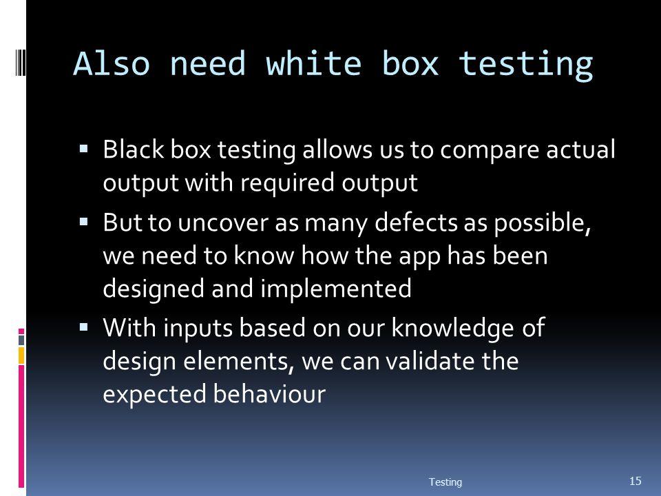 Also need white box testing