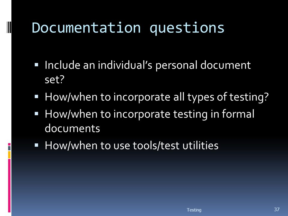 Documentation questions