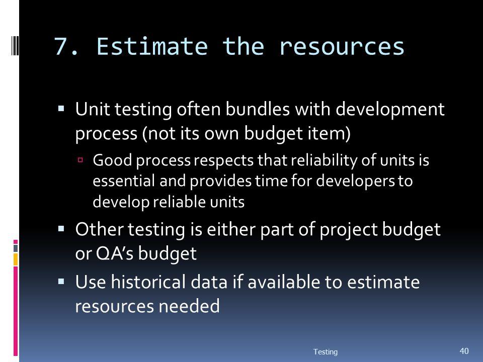 7. Estimate the resources