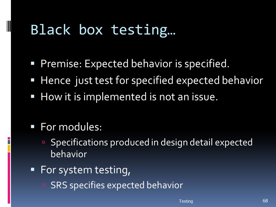 Black box testing… Premise: Expected behavior is specified.