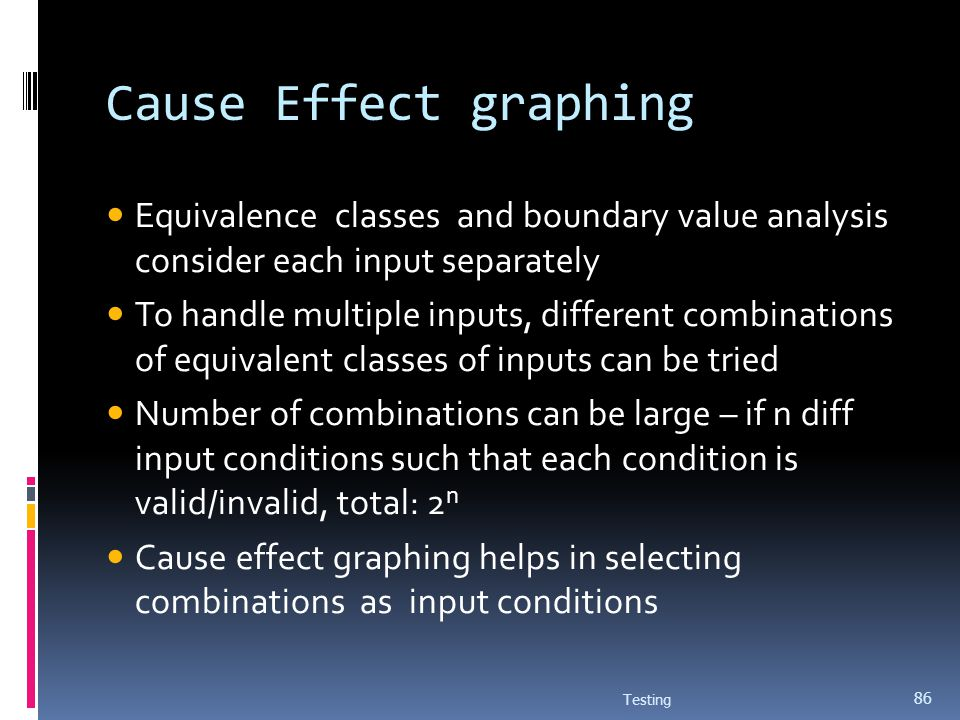 Cause Effect graphing Equivalence classes and boundary value analysis consider each input separately.