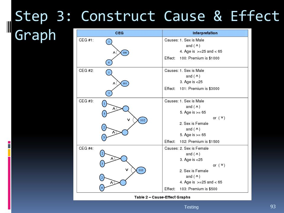 Step 3: Construct Cause & Effect Graph