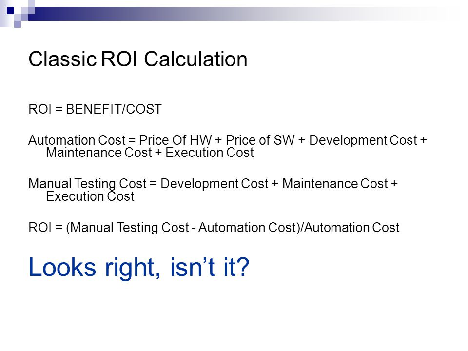 Classic ROI Calculation