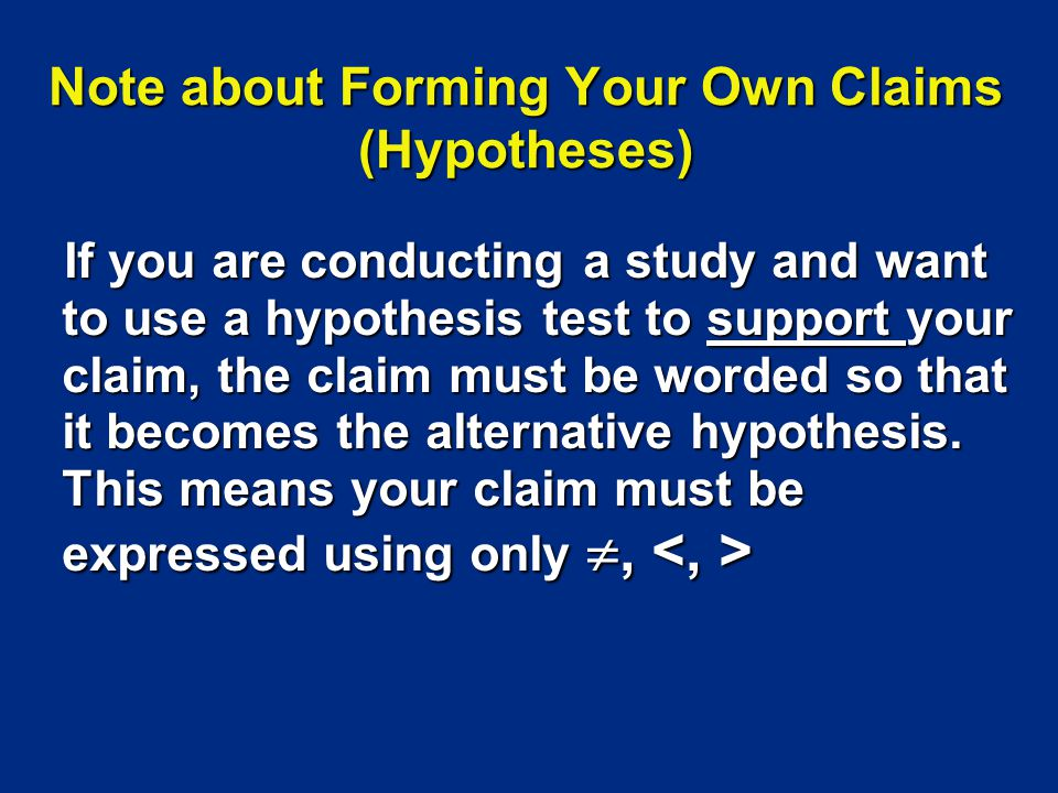 Note about Forming Your Own Claims (Hypotheses)